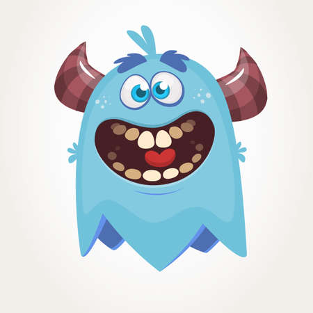 Cute cartoon monster  with horns laughing. Smiling monster emotion with big mouth. Halloween vector illustration