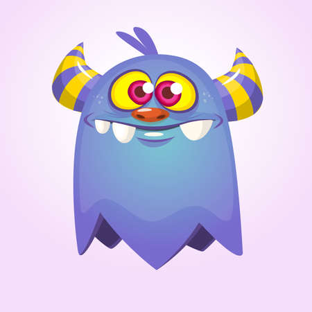 Blue cartoon monster with horns. Big collection of cute monsters Ilustração