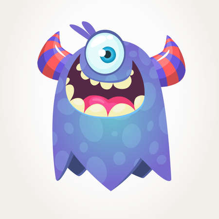 Cute cartoon monster  with horns and with one eye. Smiling monster emotion with big mouth. Halloween vector illustration