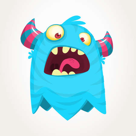 Happy cartoon monster. Vector Halloween blue furry monster  Illustration