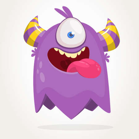 Cute cartoon monster  with horns with one eye. Smiling monster emotion with big mouth. Halloween vector illustration Illustration