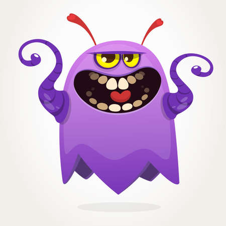 Angry cartoon monster screaming. Yelling angry monster expression. Halloween vector illustration