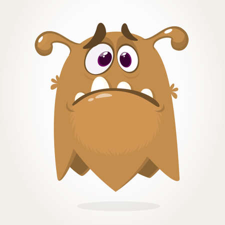 Cute grumpy cartoon monster. Vector illustration