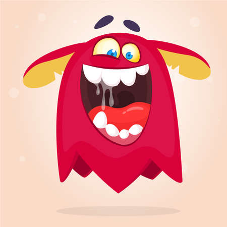 Angry cartoon red monster screaming. Yelling angry monster expression. Halloween vector illustration