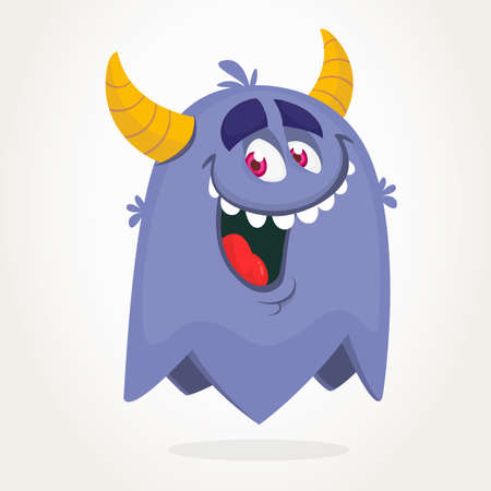 Cute cartoon monster design. Halloween vector illustration of flying monster character