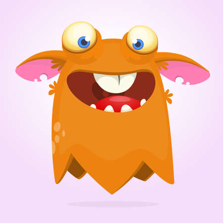 Cartoon orange monster character. Vector illustration