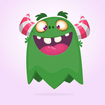 Happy cartoon green monster. Halloween vector illustration of excited monster. Big set of cartoon monsters