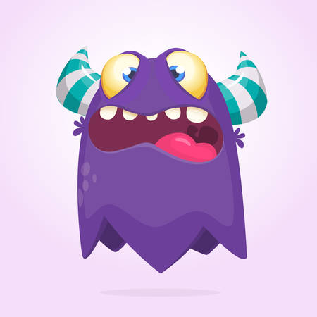 Cartoon cool monster. Monster ghost illustration with surprised expression.  Vector Halloween illustration Ilustração