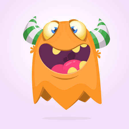 Angry orange cartoon monster with horns. Big collection of cute monsters. Halloween character. Vector illustrations. Good for book illustration, magazine prints or journal article Illustration