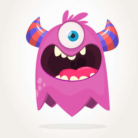 Cartoon  pink one eyed monster. Halloween vector illustration of excited monster. Big set of cartoon monsters