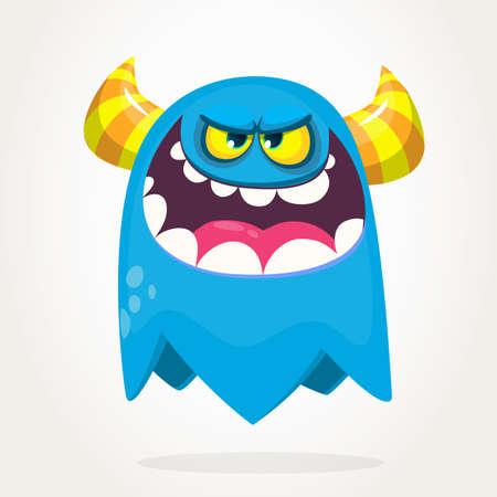 Cartoon  blue monster. Halloween vector illustration of excited monster
