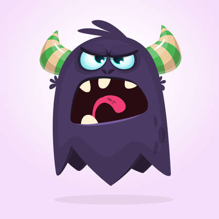Angry cartoon monster. Halloween vector black and horned monster  Ilustração