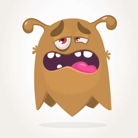 Sad monster expression, Halloween cartoon monster vector illustration
