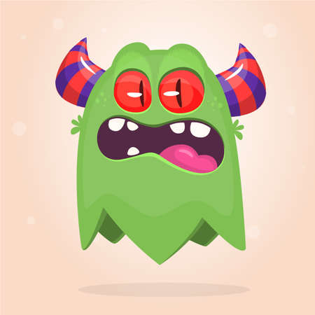 Angry cartoon monster flying icon. Vector Halloween illustration Ilustração