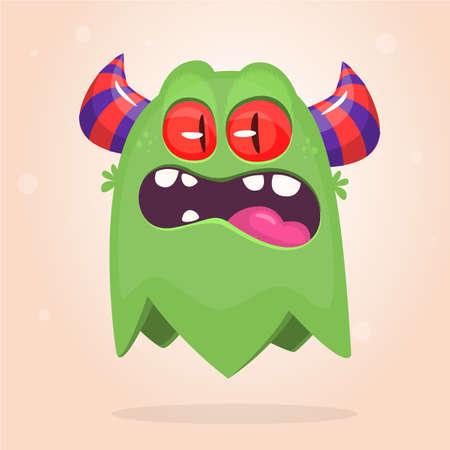 Angry cartoon monster flying icon. Vector Halloween illustration Illustration