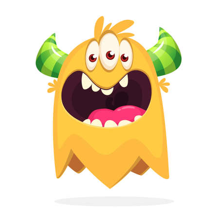 Angry orange cartoon monster with horns. Big collection of cute monsters. Halloween character. Vector illustrations. Good for book illustration, magazine prints or journal article Ilustração