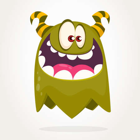 Cartoon green furry monster. Halloween vector illustration of excited monster