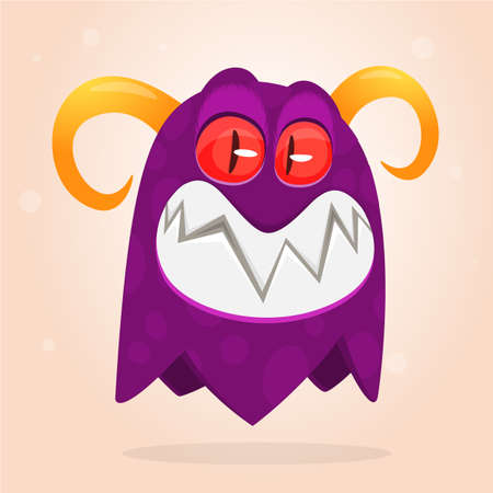 Angry cartoon monster screaming. Funny monster expression. Halloween vector illustration
