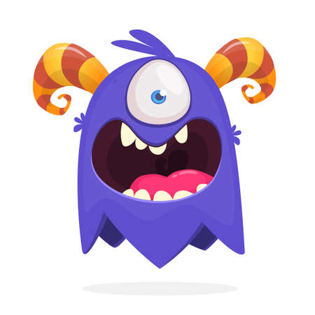 Cute cartoon monster  with horns with one eye. Smiling monster emotion with big mouth. Halloween vector illustration Ilustração