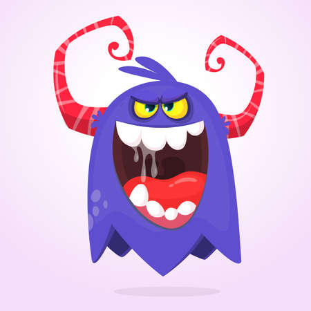 Angry cartoon blue monster screaming. Yelling angry monster expression. Halloween vector illustration Ilustração