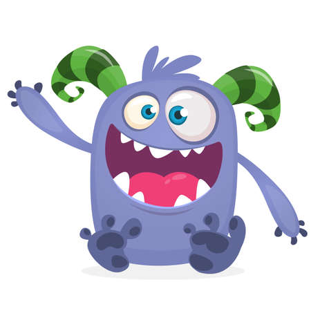 Happy cool cartoon fat monster. Blue and horned vector monster character