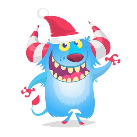 Funny cartoon monster wearing Santa Claus hat. Christmas illustration