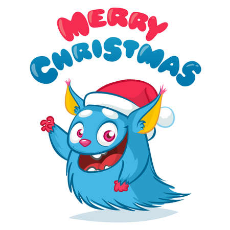 Cute Christmas Monster Vector. Holiday Cartoon Mascot. Isolated On White Background. Merry Christmas, Happy New Year Congratulation Decoration Design Element. Good For Xmas Card, Banner.