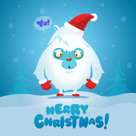Cute Christmas Monster Yeti Bigfoot Vector. Holiday Cartoon Mascot. Isolated On White Background. Merry Christmas, Happy New Year Congratulation Decoration Design