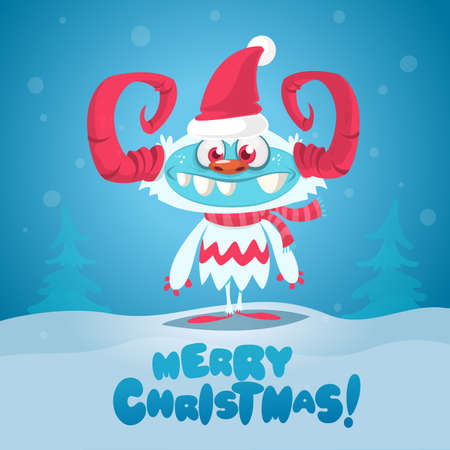 Merry Christmas and Happy new year funny poster with cute monster. Vector illustration