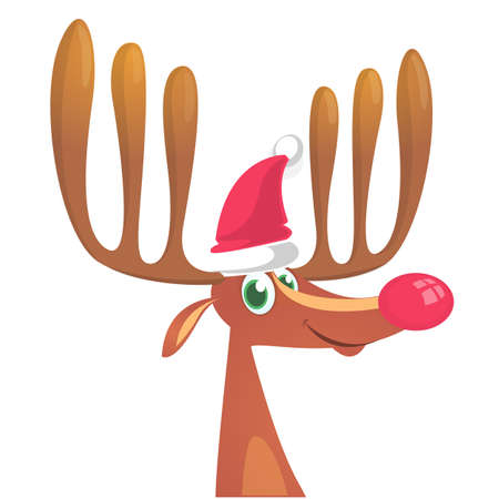 Christmas reindeer in Santa Claus hat and jingle bells collar. Vector illustration isolated