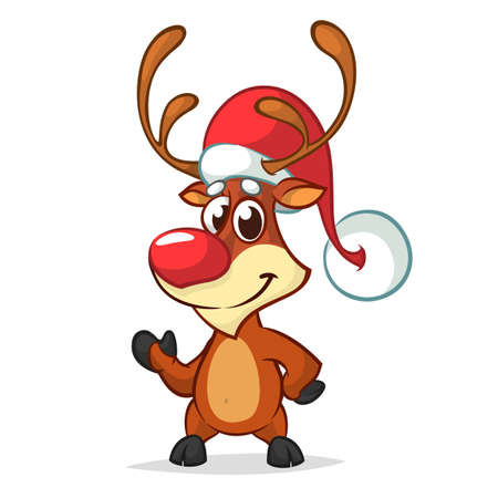 Christmas reindeer in Santa Claus hat and jingle bells collar pointing hand. Vector illustration isolated