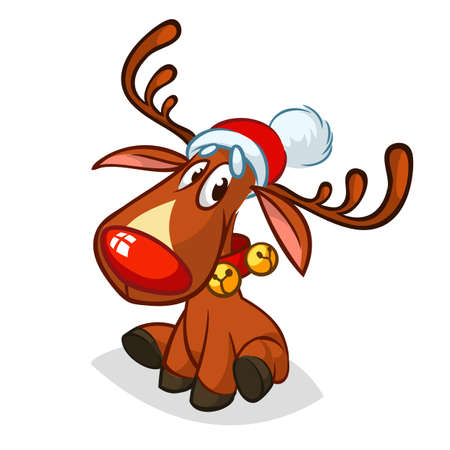 Happy cartoon red nose reindeer character Santa Claus Hat.  Christmas vector illustration