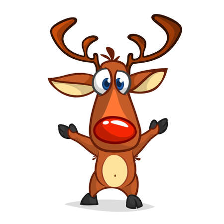 Funny cartoon red nose reindeer waving hands excited.  Christmas vector illustration isolated