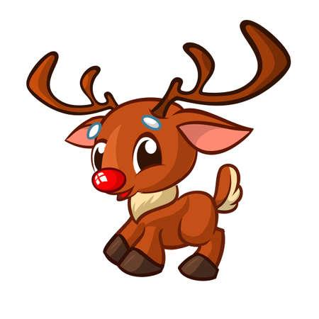 Carattere di renna naso rosso divertente del fumetto. Illustrazione vettoriale di Natale isolata