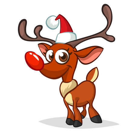 Funny cartoon red nose reindeer character in Santa hat.  Christmas illustration isolated Ilustração