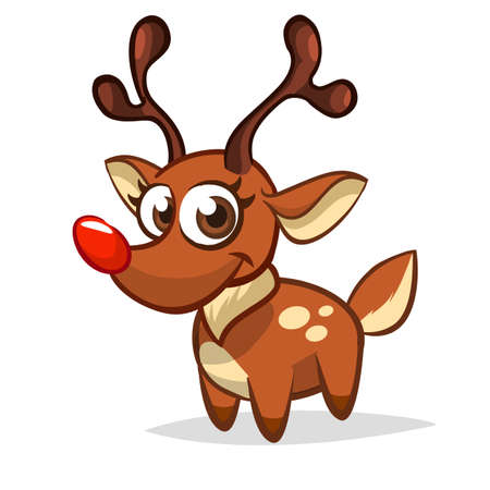 Funny cartoon red nose reindeer character.  Christmas vector illustration isolated