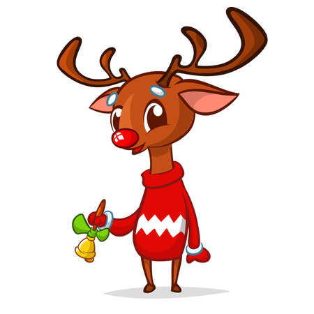 Christmas reindeer cartoon ringing a bell. Vector illustration isolated on white
