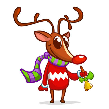 Christmas reindeer in Santa Claus hat ringing a bell. Vector illustration isolated on white