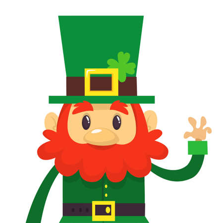 Cartoon funny Leprechaun. Vector illustration. St. Patricks Day