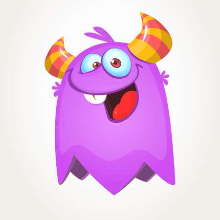 Funny cartoon monster. Vector Halloween purple monster Ilustrace