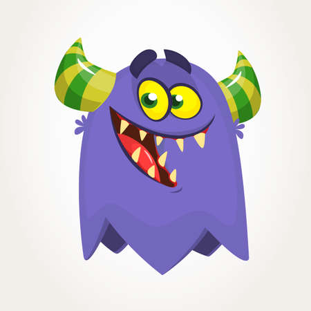 Funny cartoon monster smiling. Vector clipart