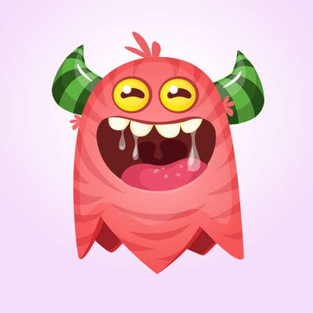 Angry cartoon monster. Vector Halloween red monster. Big set of cartoon monsters