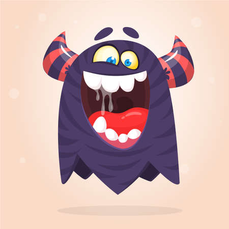 Funny cartoon monster. Vector Halloween black monster. Big set of cartoon monsters