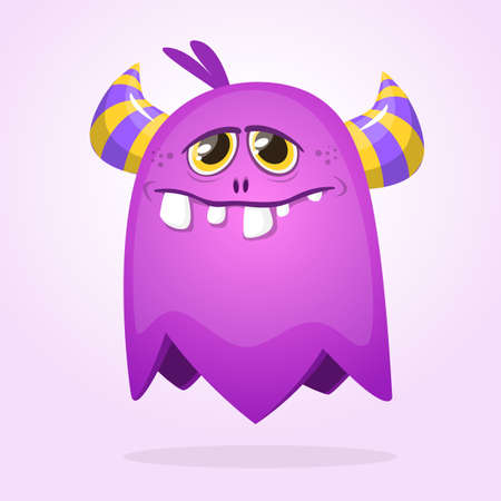 Purple cartoon monster with horns. Big collection of cute monsters