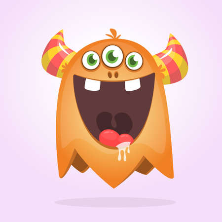 Angry orange cartoon monster with horns. Big collection of cute monsters. Halloween character. Vector illustrations. Good for book illustration, magazine prints or journal article Ilustrace