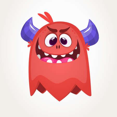 Scary cartoon monster. Vector Halloween red monster. Big set of cartoon monsters