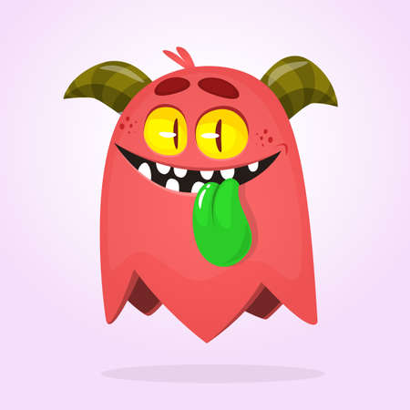 Cartoon red monster. Vector Halloween illustration of a red horned monster with long tongue.  Ilustrace