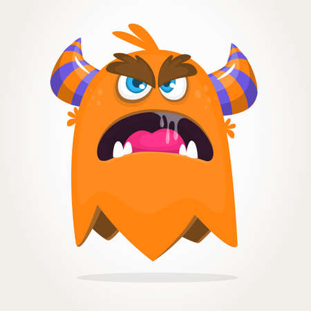 Angry cartoon orange monster. Halloween vector illustration of excited monster