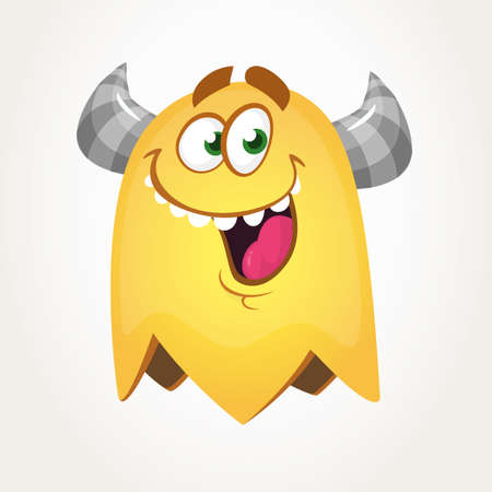 Happy cool cartoon fat flying monster with big eyes. Orange and horned vector monster character