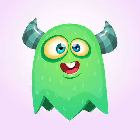 Happy cool cartoon fat flying monster with big eyes. Green and horned vector monster character Ilustrace